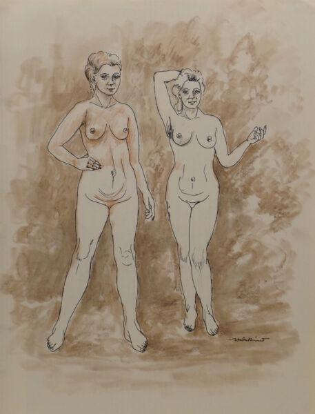""" 2 Chica/mujeres Desnudo No.61"" Pintura / Técnica Mixta. Firmado Wedekind"