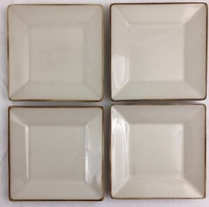 Set-of-Four-POTTERY-BARN-Asian-Square-6-034-Tan-Dessert-Plates