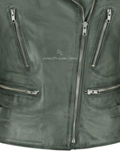 Ladies Real Leather Jacket Grey Napa Casual Fashion Slim Fit Biker Style 2100