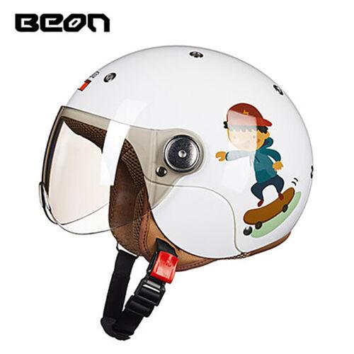 BEON Children Cartoon Motorcycle Helmets Kids Open Face Girls Boys Moto 52-54cm