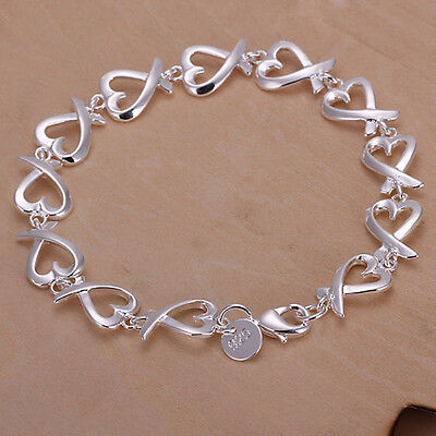 New Women 925 Sterling Silver Plated Heart Charm Chain Bracelet Bangle Jewelry