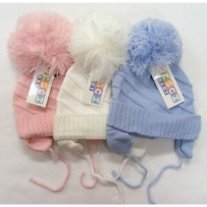 846cf1383 Details about Baby Boys Girls Pompom Winter Hats White Blue Pink