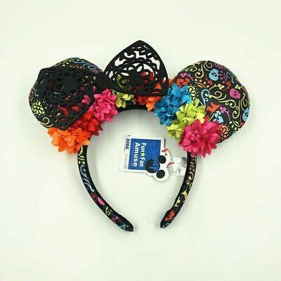 Red Fun Fan Amuse Bow Exclusive Black Lace Minnie Ears Disney Parks Headband
