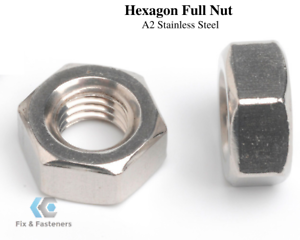 M8 HEXAGON FULL NUTS METRIC STAINLESS STEEL A2 HEX NUTS DIN 934