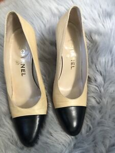 CHANEL-16B-Leather-Patent-Cap-Toe-Block-Heel-Pumps-Shoes-Beige-Black-36-5-5-800