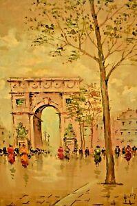 ANTONIO DEVITY Impressionist Street Walking Figures Paris Cityscape Oil Painting