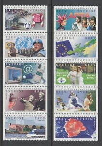 Sweden-Sc-2379-2388-MNH-2000-Millennium-complete-set-in-strips-of-5-fresh-VF