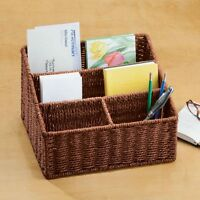 Brown Wicker Woven Basket Mail Letter Magazine Holder Office Desk Bill Organizer