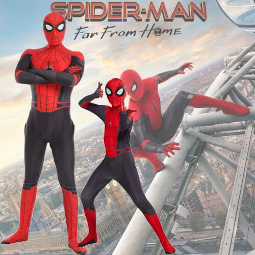 Kids Adults Spider-Man Far From Home Spiderman Zentai Cosplay Costume Suit Dress