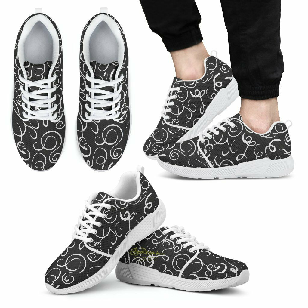 B&W  Squiggles Athletic Sneakers by Bettina Marks Inc.