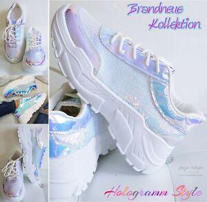 Pailletten Hologramm Glitzer Silber Sneakers Turnschuhe Blau Lila Weiß Gr. 38 39 40 41