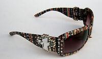 Montana West Aztec Print Uv 400 Sunglasses Rhinestone Cross With Hard Case