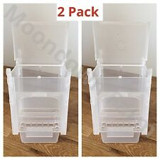 2pk SEED HOPPER / FEEDER PLASTIC FOR AVIARY CAGE BIRDS- FINCH CANARY etc