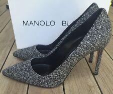Manolo Blahnik BB 105 Black and White Tweed Pumps Heels Sz 39/ 9 NIB $695