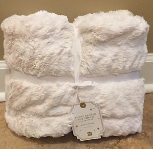 "NEW Pottery Barn Teen Faux Fur Bunny Ruched 45x60"" Throw IVORY"