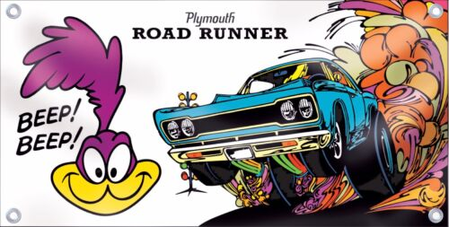 Plymouth Roadrunner Beep Beep Car Banner Retro Vintage Logo Emblem Sign Replica