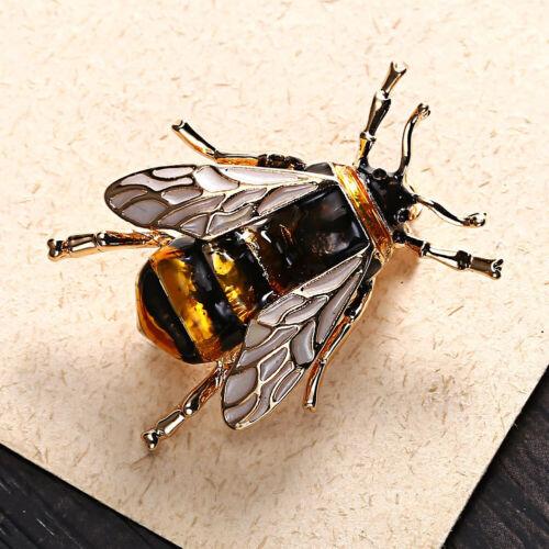 Bumble Bee Broche Or Jaune Miel Insecte vintage enamel Lapel Pin Badge Cadeau