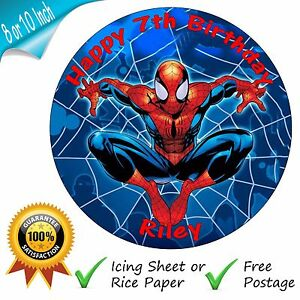 SPIDERMAN-PERSONALISED-ROUND-PRINTED-EDIBLE-BIRTHDAY-CAKE-TOPPER-DECORATION
