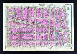 1921 New York City Map Manhattan Little Italy Chinatown Soho Canal
