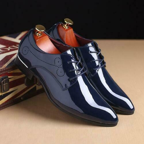 Men Carved Patent Leather Lace Up British Style Wedding Pointy Toe Shoes LL0