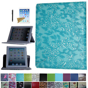 For iPad 2 2011 A1395 A1396 A1397 Rotating Case Cover With Screen Protector/ Pen