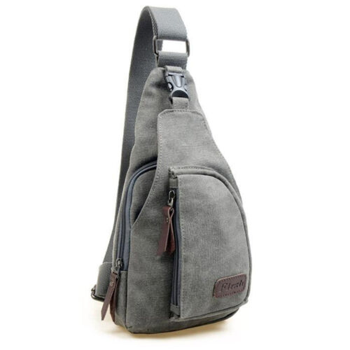 Mens Canvas Crossbody Sling Chest Bags Work Travel Hiking Messenger One Shoulder