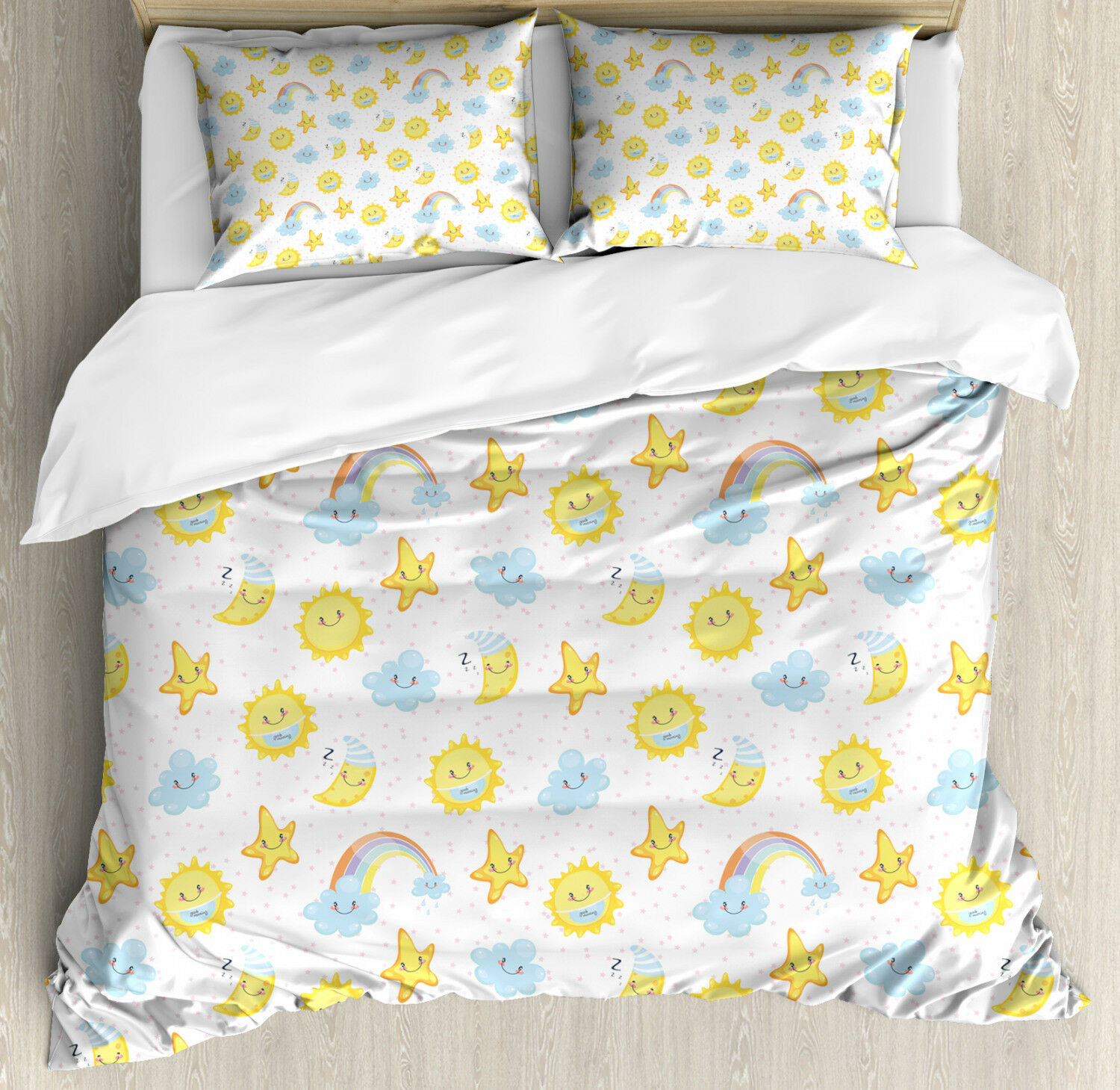 Kids Duvet Cover Set with Pillow Shams Happy Moons Stars Clouds Print