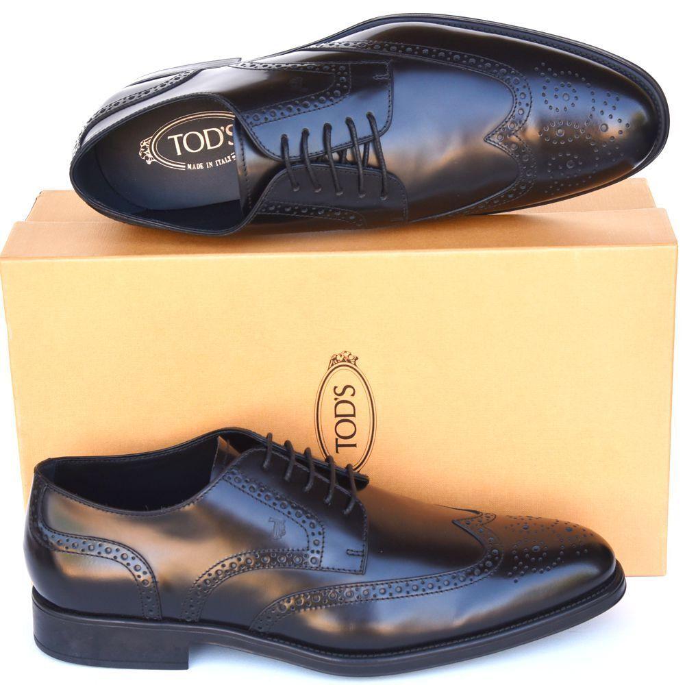 Las Nuevas Talla TOD-US 11.5 Tods diseñador para hombre punta del ala Oxford Zapatos Negro