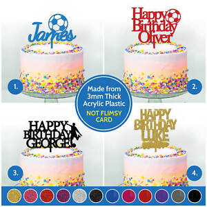 Terrific Personalised Birthday Cake Topper Decoration Football Boys Girls Personalised Birthday Cards Cominlily Jamesorg