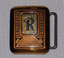Vintage Hickok monogram R bronze belt buckle sterling silver inlay small square