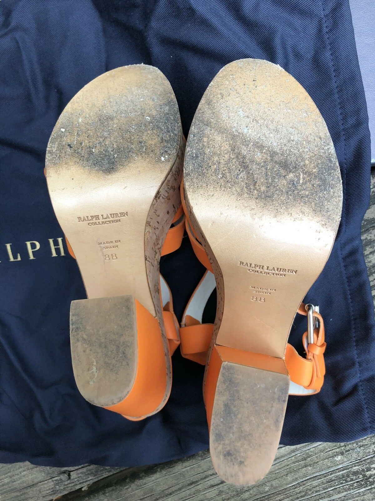 Ralph Lauren heel Collection Damens platform heel Lauren Sandales, Größe 8US value 525, orange 0618d8