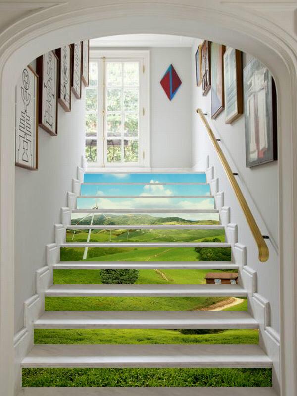 3D Grün Rasen 589 Stair Risers Dekoration Fototapete Vinyl Aufkleber Tapete DE