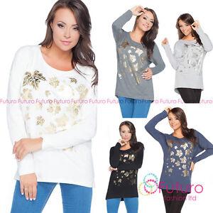 Donna-Top-Asimmetrico-Color-Oro-Stampa-Maglioncino-Camicia-Blusa-Misura