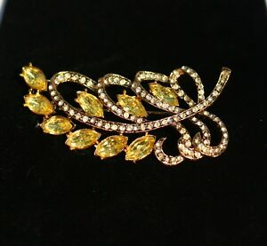 Gold-tone-leaf-flower-spray-yellow-navette-rhinestones-BROOCH