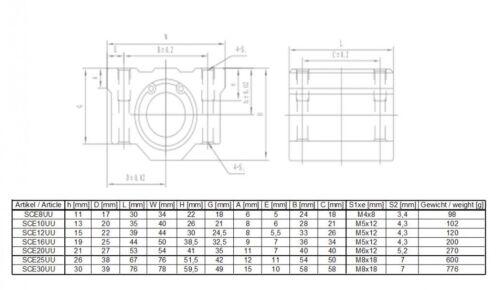 SCE8UU Linearlager für 8mm Wellen
