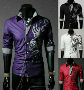 Luxury-Hot-Men-039-s-Slim-Fit-Shirts-Long-Sleeve-Dress-Shirt-Casual-T-Shirt-Formal
