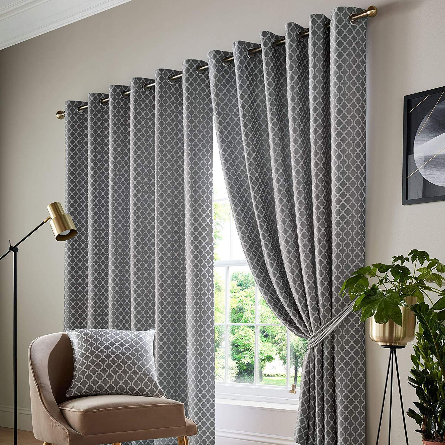 1 Pair Of COTSWOLD COTSWOLD COTSWOLD Soft Jacquard Fully Lined Eyelet Ring Top Header Curtains c5d56c
