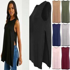 New-Women-Ladies-High-Split-Side-Long-Midi-Jersey-Slit-Tunic-Sleeveless-Vest-Top