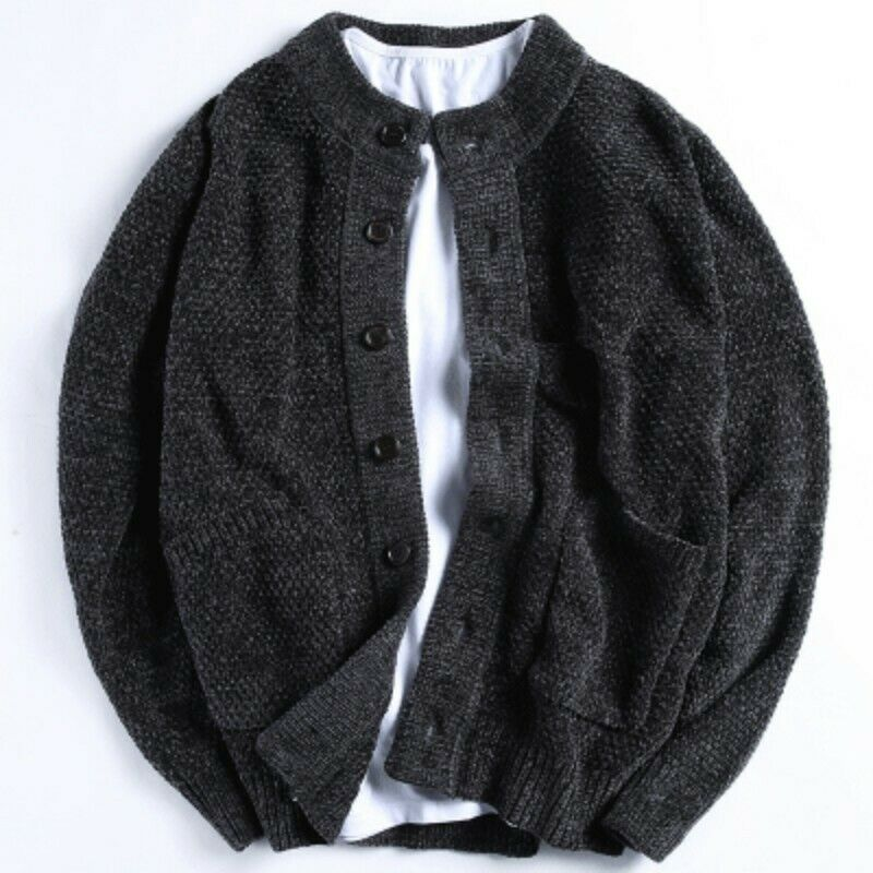 Mens Knitted Sweater Slim Long Sleeve Knitting Cardigan Jackets Coat Outdoor New