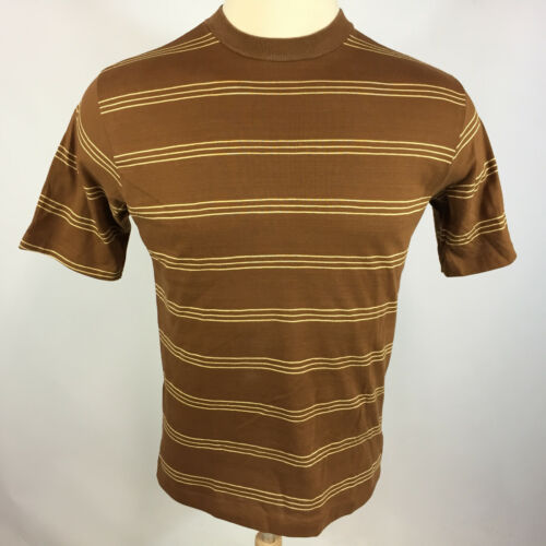 Vintage 50s 60s Shelfield Knit Surf Stripe Brown A