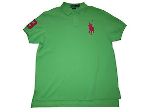 Polo Ralph Lauren Neon Green Pink Big Pony Shirt Custom Fit Rugby ... 7bb86ac1d03