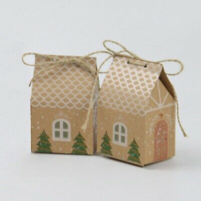 10pcs Christmas Candy Gift Bags Xmas Cookie Packaging Party Boxes Sweets Box #IN