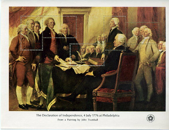 1976 18c Declaration of Independence, Souvenir Sheet of