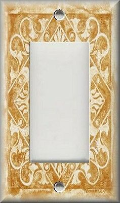 Light Switch Plate Cover -  Home Decor - Tuscan Tile Pattern - Golden Wheat