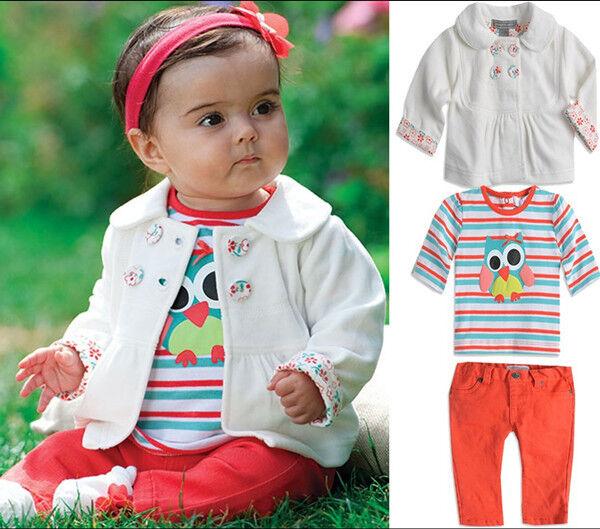 Newborn Baby Girls Kids Winter Owl Animal Top Coat+Tshirt+Pants Clothes Set Suit