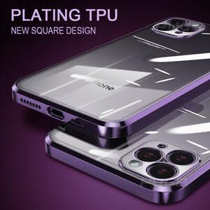 Para iPhone 12 Pro Max 11 XR XS X 7 8 Cuadrado Enchapado Borde Suave Claro Funda