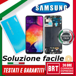 DISPLAY LCD+TOUCH SCREEN+FRAME OLED=ORIGINALE SAMSUNG GALAXY A50 SM-A505F VETRO!