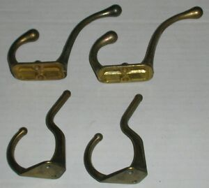 """4 Brass Coat Hooks 2 - 3"""" and 2 - 3 1/2"""""""