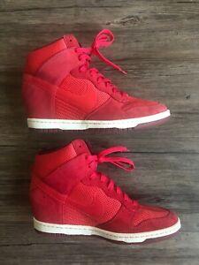 collar dejar Competidores  Nike Geranium Red Dunk Sky Hi Essential Wedge Sneakers Shoes 644877-600 9.5  Pink | eBay