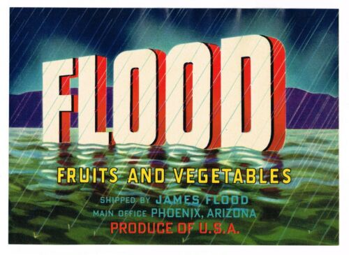 CRATE LABEL VINTAGE 5x7 FLOOD RIVER PHOENIX ARIZONA NOAHS ARK 1950S ORIGINAL